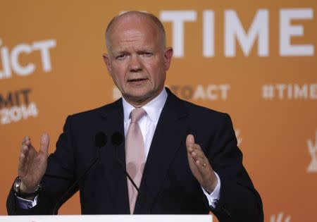 Britain's Foreign Secretary Hague gives a news conference after a ministerial meeting on security in Northern Nigeria on the sidelines of the 'End Sexual Violence in Conflict' summit in London