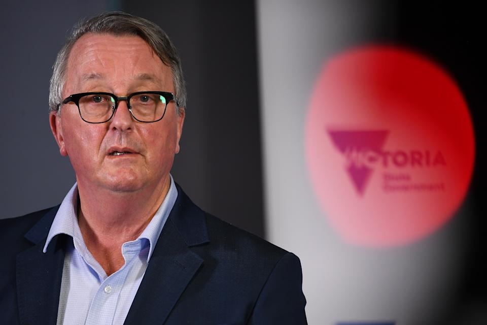 Victorian Minister for Health Martin Foley addressing the media Tuesday. Source: AAP