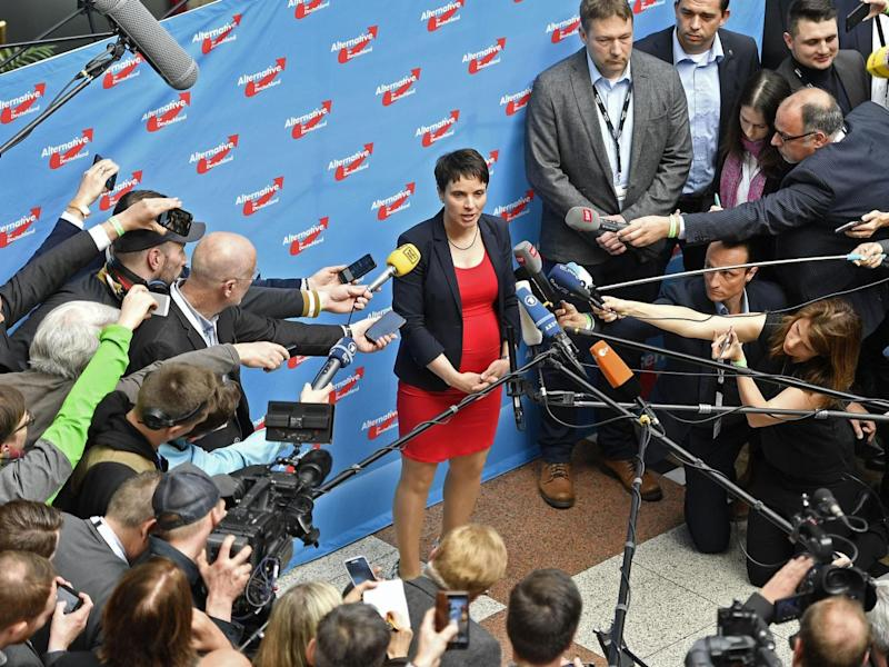 Frauke Perry, co-leader of the nationalist AfD party, speaks during the conference (Associated Press)