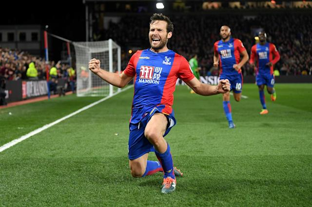 <p>Luka Milivojevic celebrates making it 3-0 from the penalty spot</p>