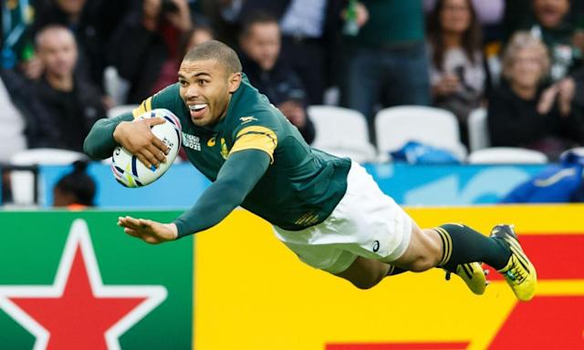 Habana scores a try against the USA in London, during the 2015 Rugby World Cup.