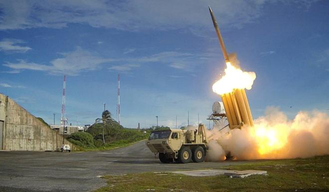 A Terminal High Altitude Area Defence (THAAD) interceptor is launched during a successful test. South Korea's agreement to deploy the system resulted in a breach in its relations with China. Photo: US Defence Department via Reuters