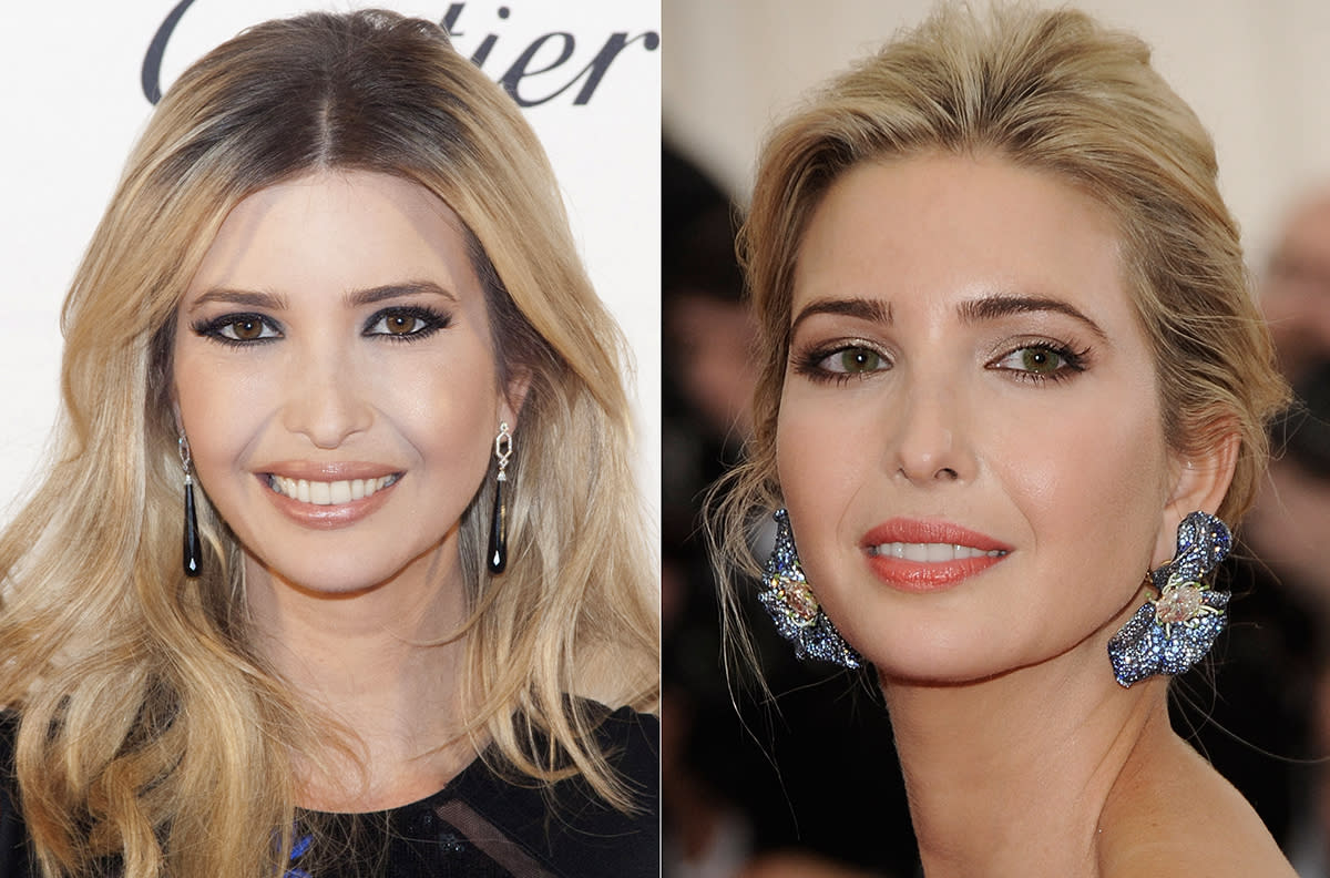 <p>Ivanka Trump goes from brown eyes to green eyes and back again. (Photo: Lars Niki/Corbis via Getty Images) </p>