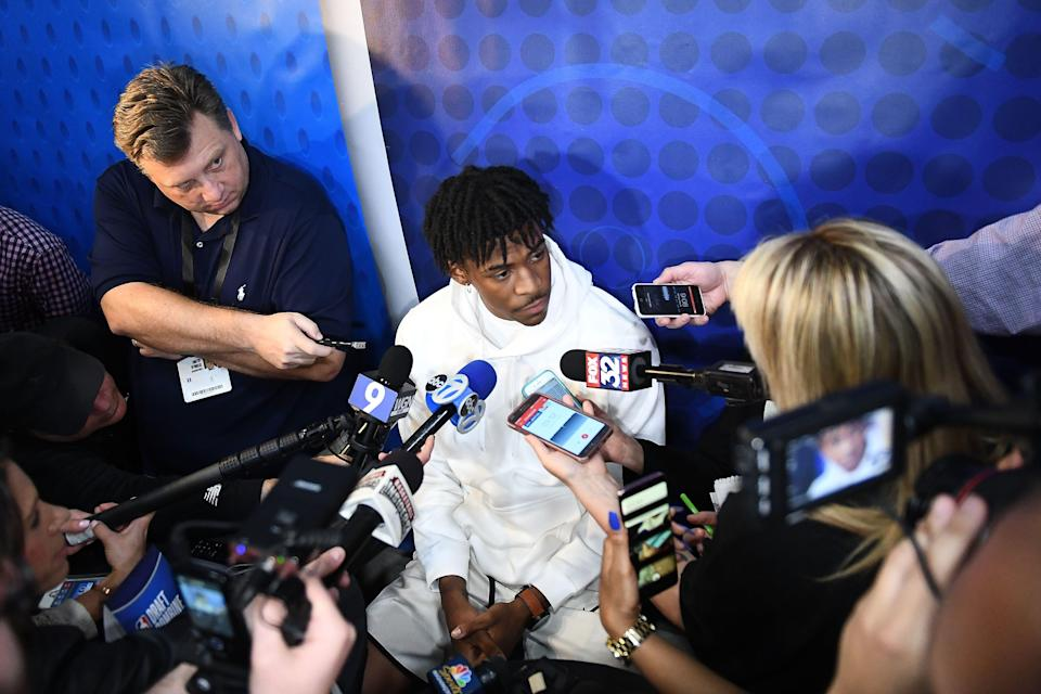 CHICAGO, ILLINOIS - MAY 16: Ja Morant speaks with the media during Day One of the NBA Draft Combine at Quest MultiSport Complex on May 16, 2019 in Chicago, Illinois.  NOTE TO USER: User expressly acknowledges and agrees that, by downloading and or using this photograph, User is consenting to the terms and conditions of the Getty Images License Agreement. (Photo by Stacy Revere/Getty Images)