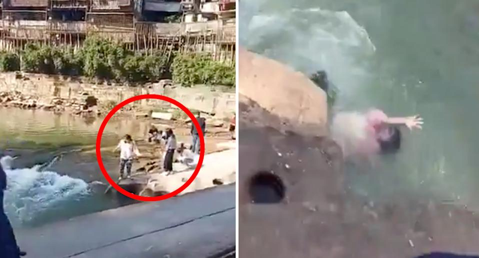 The student appeared to be posing for a photo opportunity when she slipped into the river. Source: Weibo