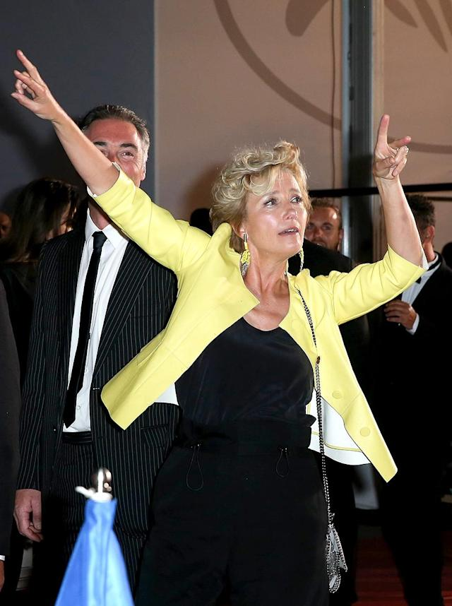 <p>Get Emma Thompson to the after-party! The actress busted a move at the premiere of her new film, <em>The Meyerowitz Stories</em>, during the Cannes Film Fest. (Photo: BackGrid) </p>