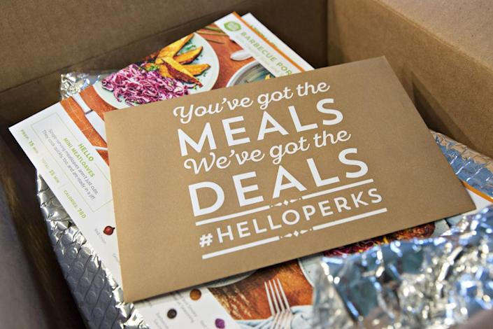A HelloFresh AG meal kit delivery box is arranged for a photograph in Tiskilwa, Illinois, U.S., on Wednesday, Nov. 15, 2017.