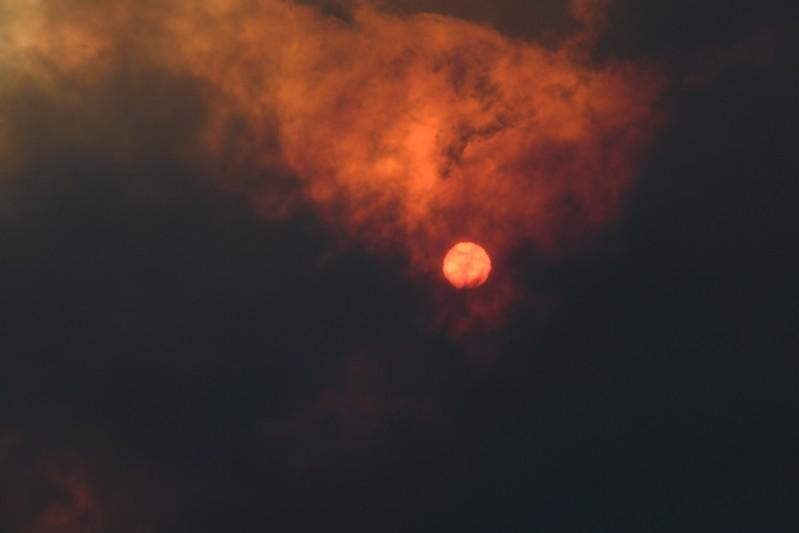 The sun is seen through heavy smoke as a bushfire burns in Woodford NSW