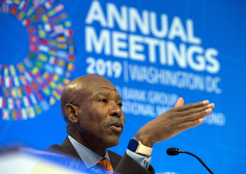 International Monetary and Financial Committee Chair and South Africa's Reserve Bank Governor Lesetja Kganyago speaks during a news conference after the International Monetary and Financial Committee (IMFC) meeting, at the World Bank/IMF Annual Meetings in Washington, Saturday, Oct. 19, 2019. (AP Photo/Jose Luis Magana)