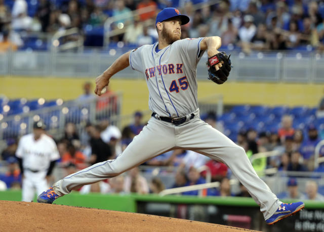 New York Mets starting pitcher Zack Wheeler throws during the first inning of a baseball game against the Miami Marlins, Wednesday, April 11, 2018, in Miami. (AP Photo/Lynne Sladky)