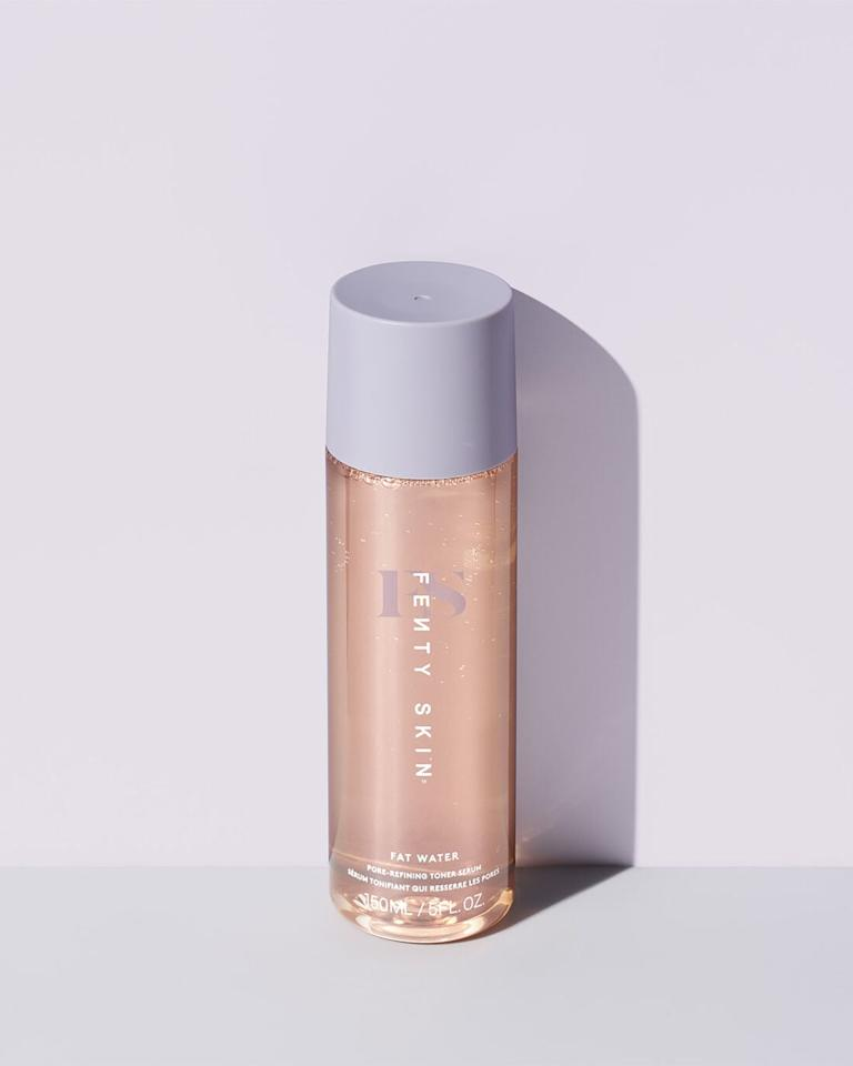 """<p>The <product href=""""https://www.fentybeauty.com/fat-water-pore-refining-toner-serum/47151.html"""" target=""""_blank"""" class=""""ga-track"""" data-ga-category=""""Related"""" data-ga-label=""""https://www.fentybeauty.com/fat-water-pore-refining-toner-serum/47151.html"""" data-ga-action=""""In-Line Links"""">Fenty Skin Fat Water Pore-Refining Toner Serum</product> ($28) is a jelly-like product that cleans pores and targets dark spots without stripping the skin of its natural oils. One editor even described it as """"<a href=""""https://www.popsugar.com/beauty/fenty-skin-fat-water-pore-refining-toner-serum-review-47658517"""" class=""""ga-track"""" data-ga-category=""""Related"""" data-ga-label=""""https://www.popsugar.com/beauty/fenty-skin-fat-water-pore-refining-toner-serum-review-47658517"""" data-ga-action=""""In-Line Links"""">unlike anything I've ever applied to my face</a>.""""</p>"""