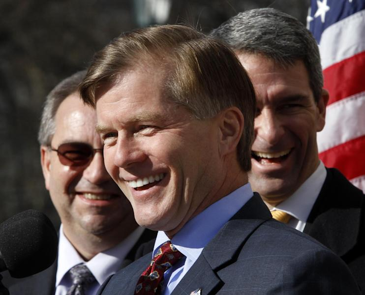 FILE - In this Jan. 10, 2013 file photo, Virginia Gov. Bob McDonnell, center, accompanied by Lt. Gov. Bill Bolling, left, and Attorney General, Ken Cuccinelli, right, speaks in Richmond, Va. Virginia is conducting nothing short of a grand political experiment, testing whether a tea party favorite can carry a closely divided state. If Ken Cuccinelli succeeds, he will undercut Republican moderates' claims that hard-right ideologies are hurting the party, and undoubtedly intensify a debate already roiling the GOP. (AP Photo/Steve Helber, File)