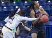 Notre Dame's Arike Ogunbowale (24) knocks the ball away from Cal State Northridge's Channon Fluker (33) during a first-round game in the NCAA women's college basketball tournament Friday, March 16, 2018, in South Bend, Ind. (Michael Caterina/South Bend Tribune via AP)