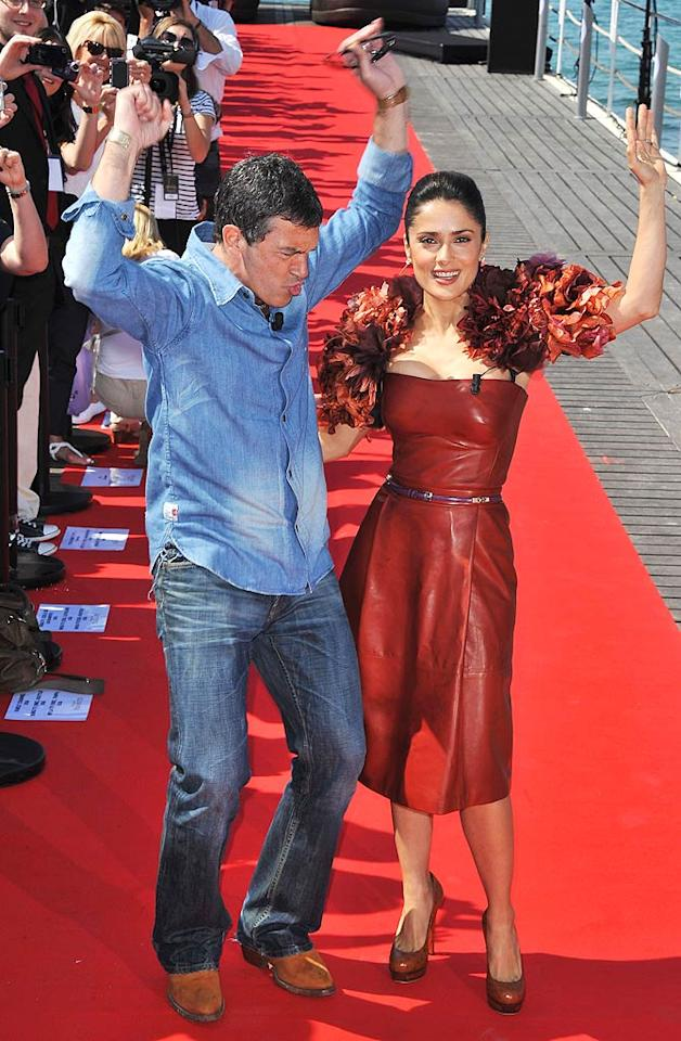 "Also having fun in Cannes were Antonio Banderas and Salma Hayek, who showed off their moves on the red carpet at a press event for ""Puss in Boots."" Francois Durand/<a href=""http://www.gettyimages.com/"" target=""new"">GettyImages.com</a> - May 11, 2011"