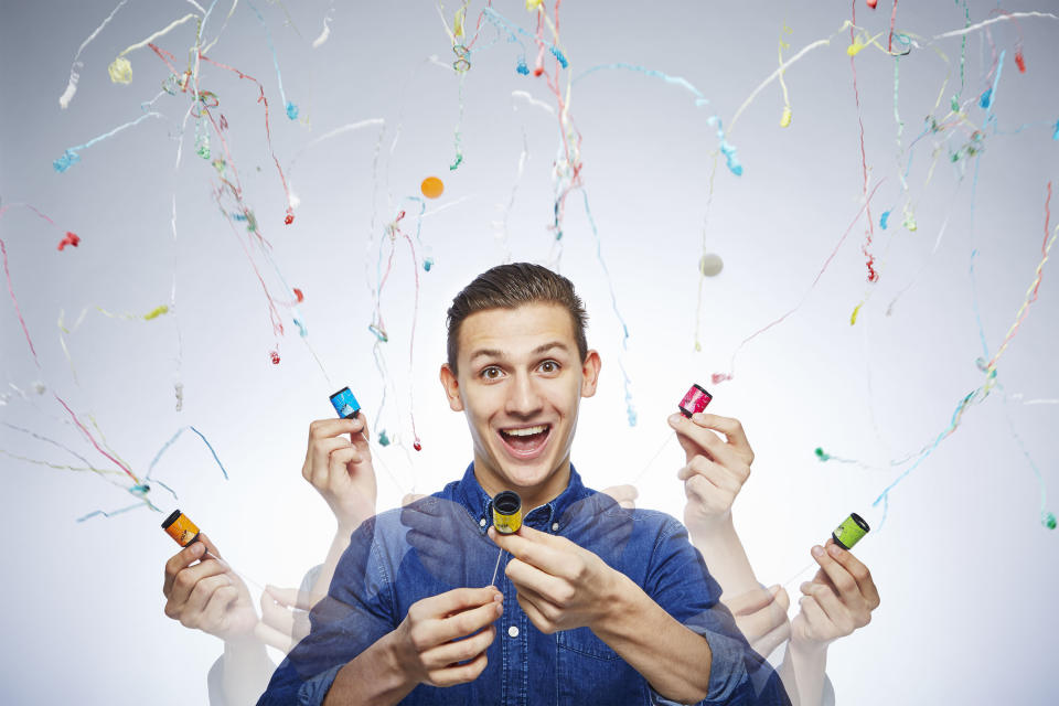 <p>There's definitely cause for a celebration here, as Andre Ortolf can pop 78 party poppers in one minute – more than one a second. (PA) </p>