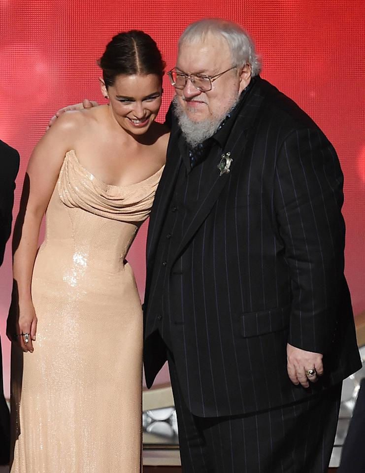 <p>Emilia Clarke and writer George R.R. Martin accept Outstanding Drama Series for 'Game of Thrones' onstage during the 68th Annual Primetime Emmy Awards at Microsoft Theater on September 18, 2016 in Los Angeles, California. (Photo by Kevin Winter/Getty Images)</p>