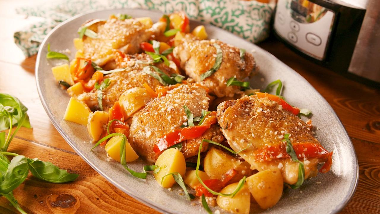 """<p>Sear the chicken first for crispy skin.</p><p>Get the recipe from <a href=""""https://www.delish.com/cooking/recipe-ideas/a23459593/slow-cooker-tuscan-chicken-recipe/"""" target=""""_blank"""">Delish</a>.</p>"""