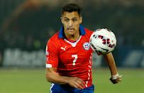 Chile's Alexis Sanchez goes for the ball during a Copa America quarterfinal soccer match against Uruguay at the National Stadium in Santiago, Chile, Wednesday June 24, 2015. (AP Photo/Luis Hidalgo)