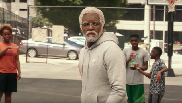 "<a class=""link rapid-noclick-resp"" href=""/nba/players/4840/"" data-ylk=""slk:Kyrie Irving"">Kyrie Irving</a> reprises his role as Uncle Drew for a full-length feature film. (Screen shot)"
