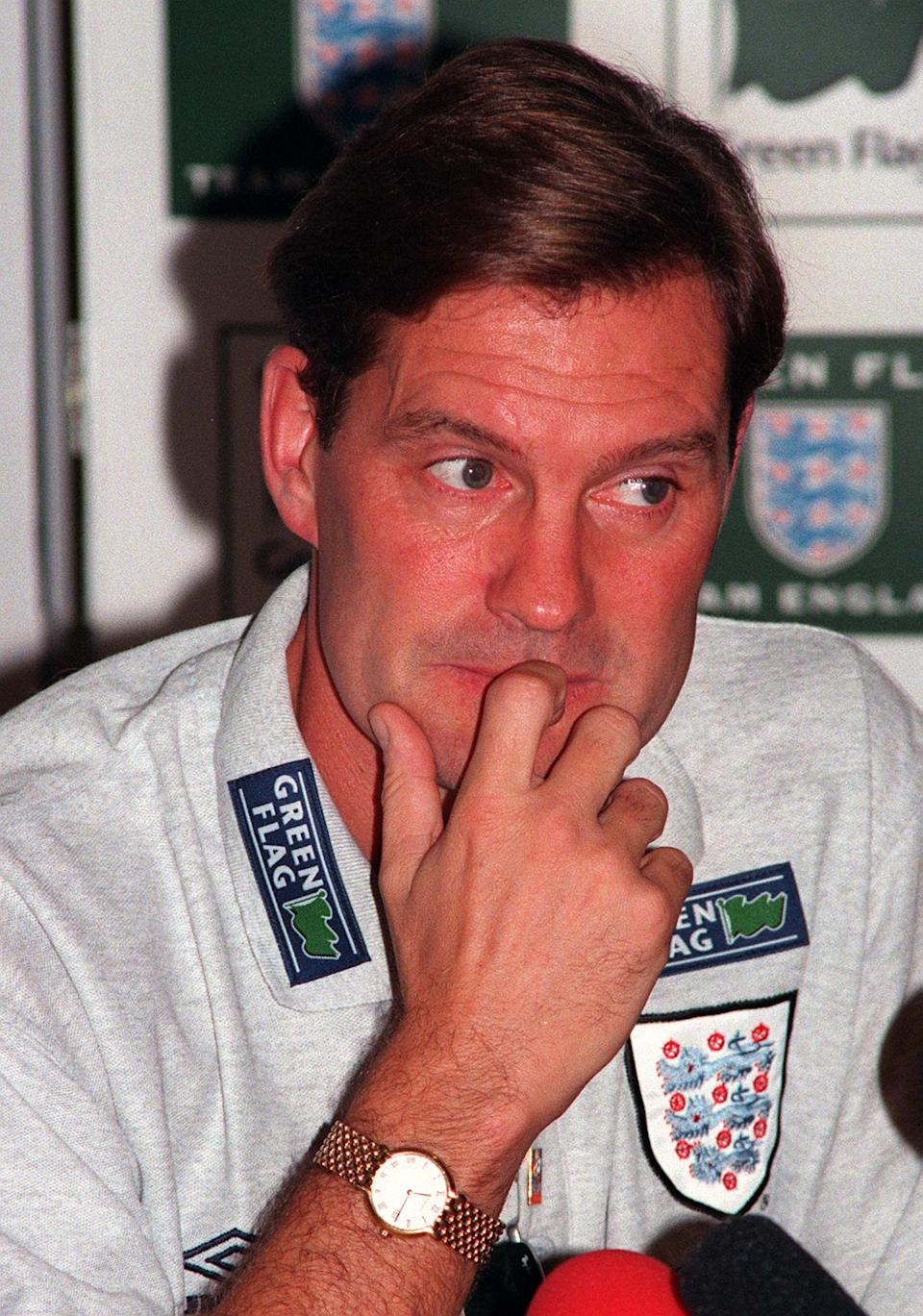 England's coach Glenn Hoddle ponders a question during a press conference in Rome, Thursday, October 9, 1997. England will play Italy in a Soccer World Cup group two qualifying match in Rome on Saturday. (AP Photo/Marco Ravagli)