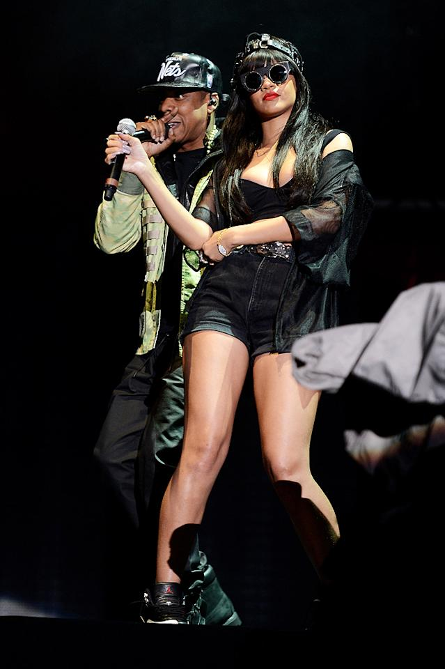 Who's that girl? It's Rihanna! The pop star rocked some dark shades when she shared the stage with pal Jay-Z as they performed during the first day of the BBC Radio 1 Hackney Weekend in London on Saturday. (6/23/2012)