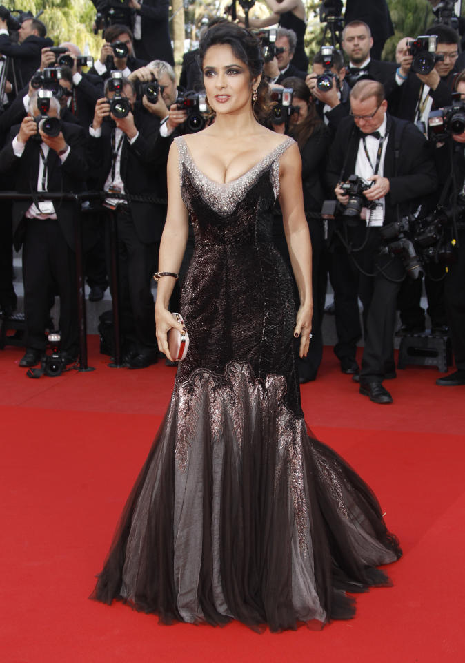 Actress Salma Hayek for the screening of Rust and Bone at the 65th international film festival, in Cannes, southern France, Friday, May 18, 2012. (AP Photo/Joel Ryan)