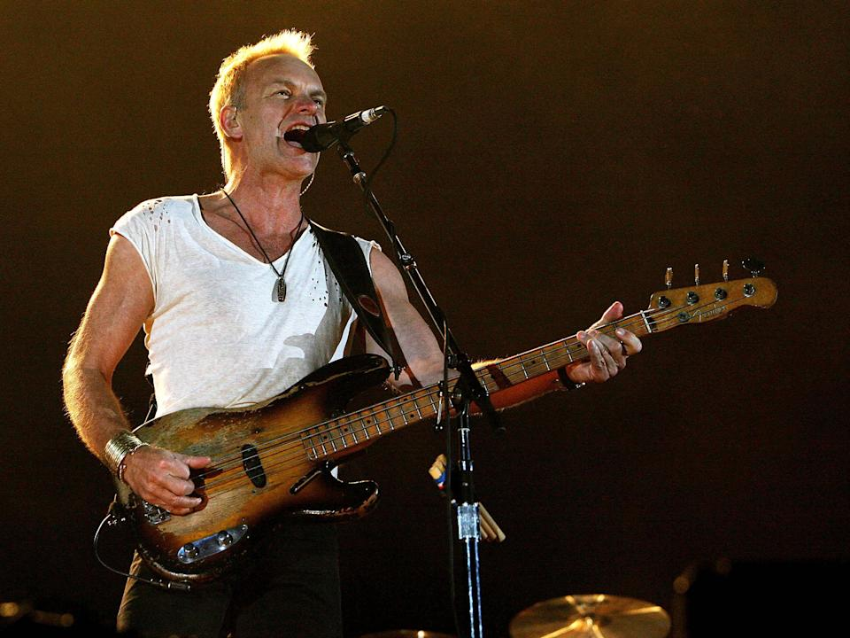 File photo dated 06/10/2007 of Sting as more than 50,000 music fans are today heading for the first of the summer's major festivals to see rockers The Police.