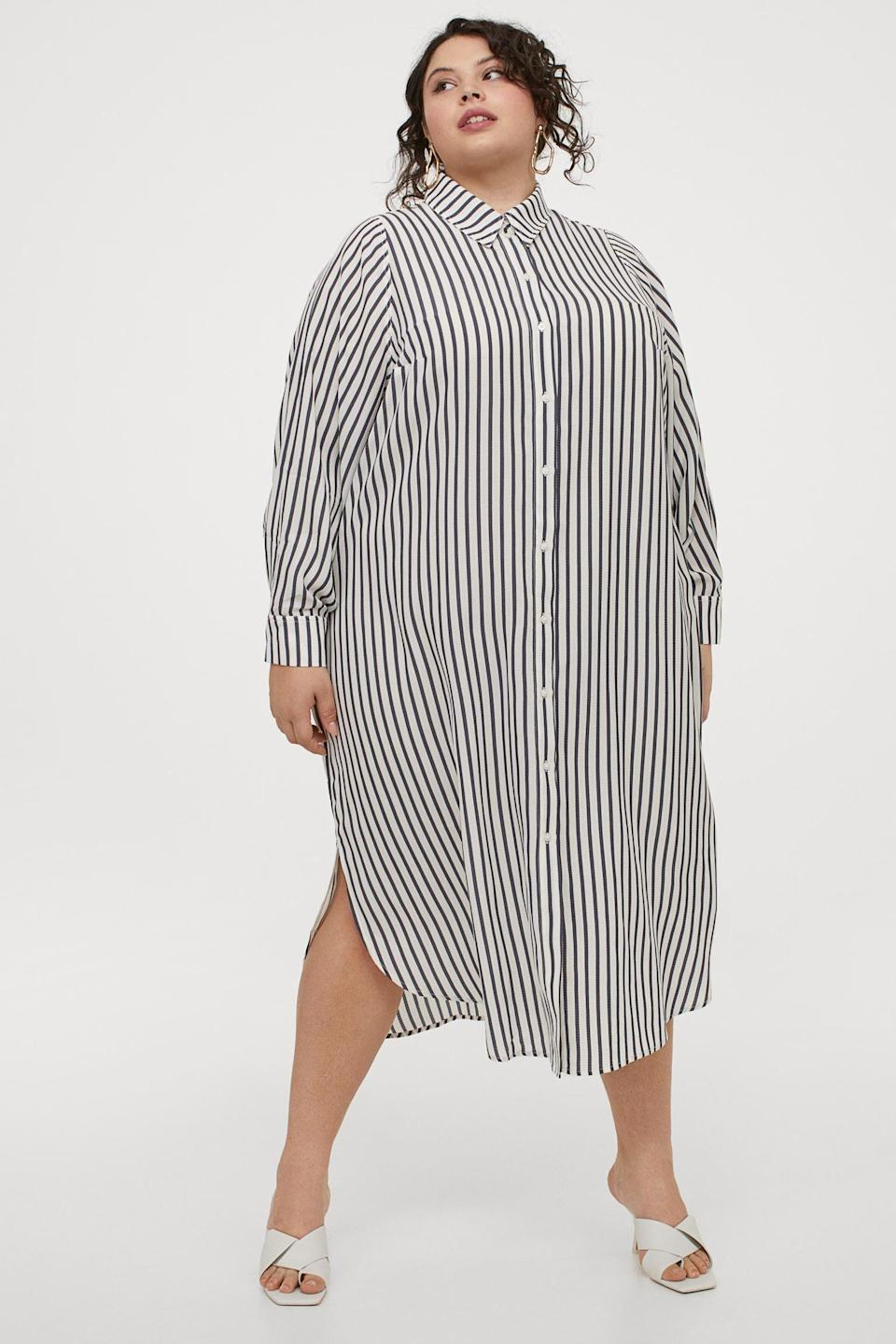 <p>Style this <span>H&amp;M+ Calf-length Shirt Dress</span> ($35) with a pair of mules for a chic look.</p>