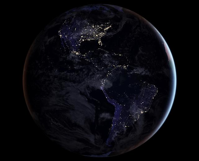 <p>A composite image released by NASA on April 12, 2017 showing the full western hemisphere at night. This map of night lights is based on imagery from 2016. (Photo: NASA Earth Observatory image by Joshua Stevens, using Suomi NPP VIIRS data from Miguel Romá¡n, NASA's Goddard Space Flight Center/Handout via Reuters) </p>