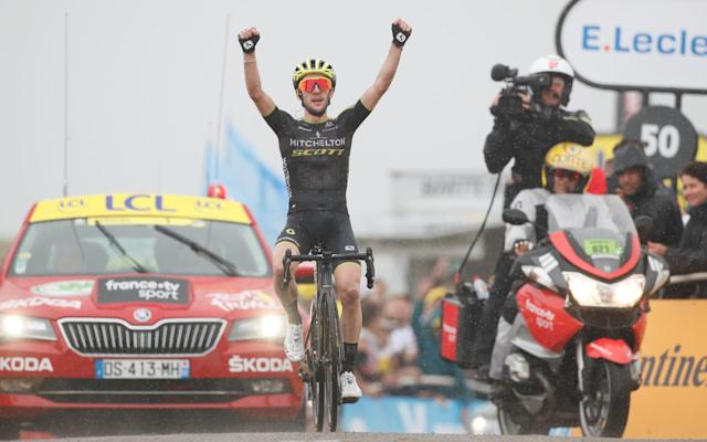 Simon Yates celebrates as he wins his second stage at this year's Tour de France - REUTERS