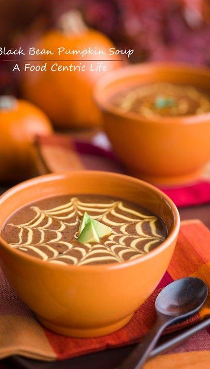 """<p>Pipe a spider web design on top to bring the spooks.</p><p>Get the recipe from <a href=""""http://afoodcentriclife.com/black-bean-and-pumpkin-soup/"""" rel=""""nofollow noopener"""" target=""""_blank"""" data-ylk=""""slk:A Food Centric Life"""" class=""""link rapid-noclick-resp"""">A Food Centric Life</a>.</p>"""