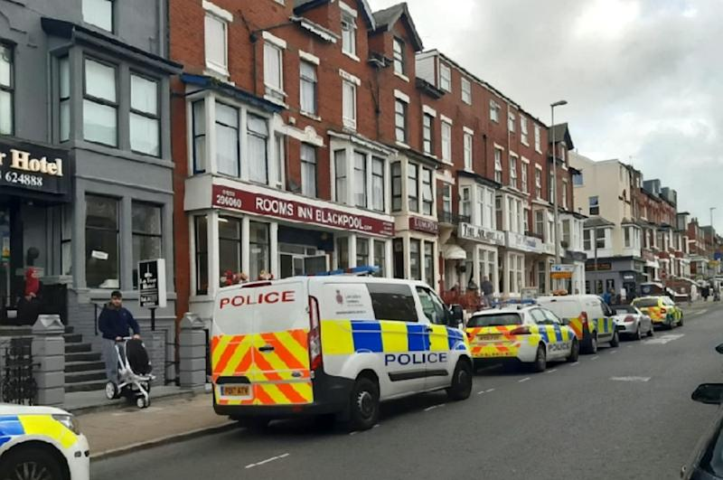 Horror: The incident happened at the Rooms Inn hotel in Blackpool, Lancs, at around 9am on Tuesday morning. One eyewitness said that he found the child lying in a pool of blood on the ground