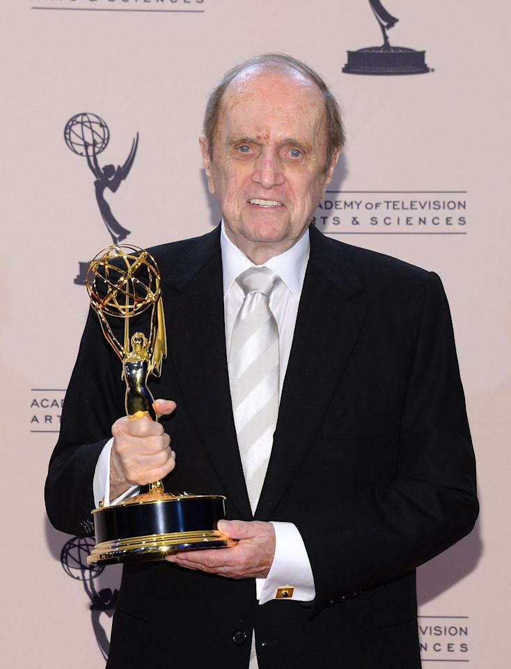 "LOS ANGELES, CA - SEPTEMBER 15: Actor Bob Newhart poses with the award for outstanding guest actor in a comedy series for ""The Big Bang Theory"" during the 2013 Creative Arts Emmy Awards held at the Nokia Theatre L.A. Live on September 15, 2013 in Los Angeles, California. (Photo by Mark Davis/Getty Images)"