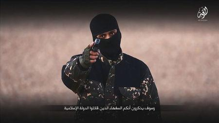 A masked man points a weapon as he speaks in this still image from a handout video from a social media website which has not been independently verified