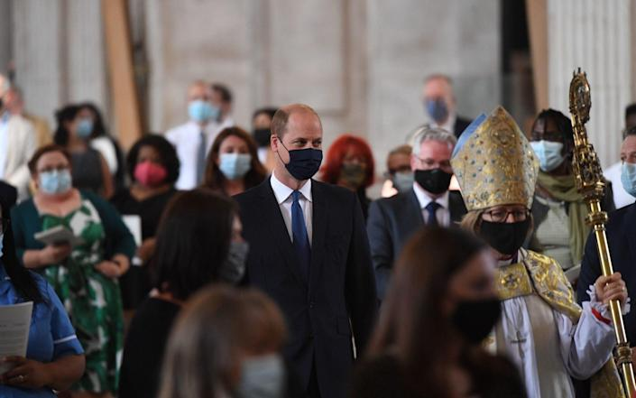 The Duke of Cambridge arrives at the NHS service of commemoration and thanksgiving - Stefan Rousseau/PA Wire