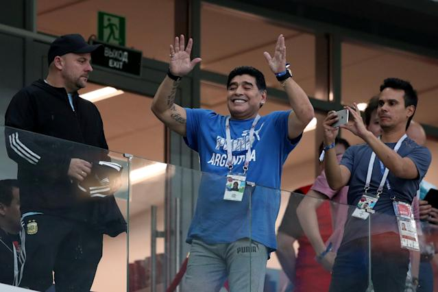 Soccer Football - World Cup - Group D - Argentina vs Croatia - Nizhny Novgorod Stadium, Nizhny Novgorod, Russia - June 21, 2018 Former Argentina player Diego Maradona in the stand before the match REUTERS/Ivan Alvarado
