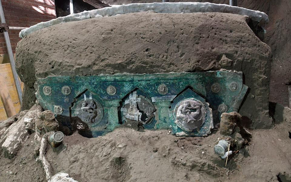 Officials at the Pompeii archaeological site near Naples have announced the first-ever discovery of an intact ceremonial chariot - Parco Archeologico di Pompei via AP