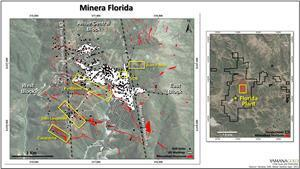 Minera Florida Location Map Showing Main Target Areas Discussed in Text, Principle Vein Systems, and Underground Workings.
