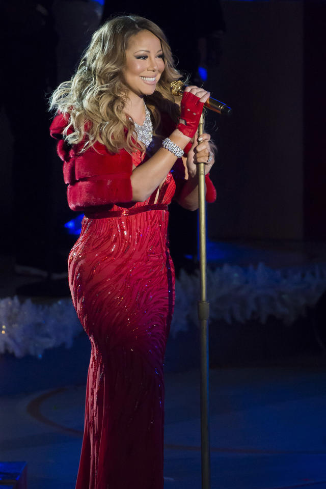 Mariah Carey performs at the 82nd Annual Rockefeller Center Christmas Tree Lighting Ceremony on Wednesday, Dec. 3, 2014, in New York. (Photo by Charles Sykes/Invision/AP)