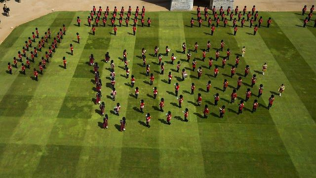 The Massed Band of the Household Division perform at Windsor Castle