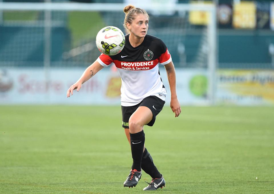 Sinead Farrelly, formerly of Portland Thorns FC seen here in 2015, said she wants more justice after coming forward with allegations against her former coach. (Rich Barnes/Getty Images)