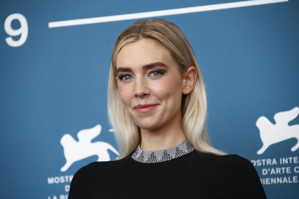 Actress Vanessa Kirby poses for photographers at the photo call for the film 'The World To Come' during the 77th edition of the Venice Film Festival in Venice, Italy, Sunday, Sept. 6, 2020. (Photo by Joel C Ryan/Invision/AP)