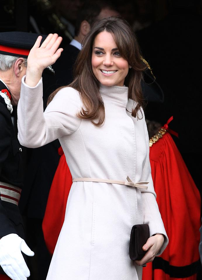 <p>Middleton wears the Max Mara Belli coat in 2012. (Photo: Courtesy of Max Mara) </p>