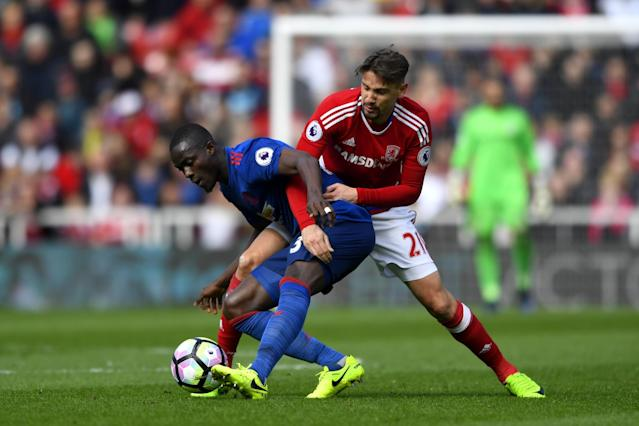 <p>Ramirez and Bailly continue to battle </p>