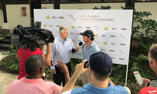 """<div class=""""caption""""> Delgado got to face the press after his second-round 68 put him atop the leader board. </div> <cite class=""""credit"""">Ryan Herrington</cite>"""