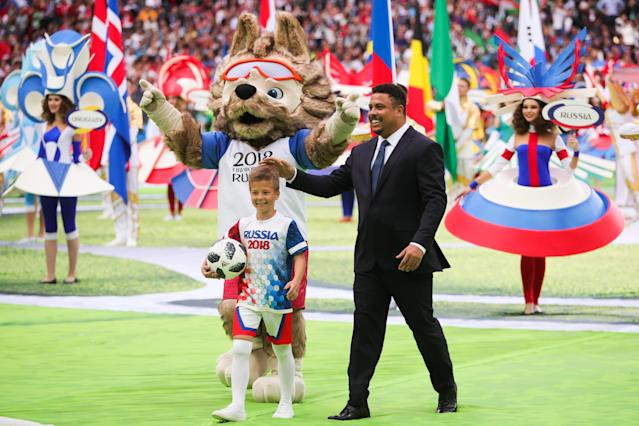 <p>Brazilian footballer Ronaldo at the opening ceremony of the 2018 FIFA World Cup at Luzhniki Stadium. Sergei Bobylev/TASS (Photo by Sergei Bobylev\TASS via Getty Images) </p>