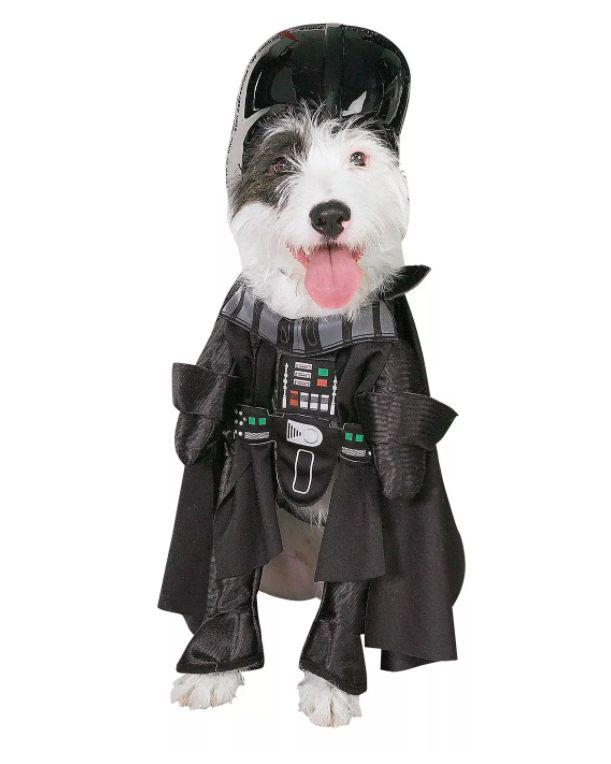 "Get this <a href=""https://goto.target.com/g9Pk0"" target=""_blank"" rel=""noopener noreferrer"">Star Wars Darth Vader Dog Costume for $16 </a>at Target. It's available in size medium and has a headpiece."