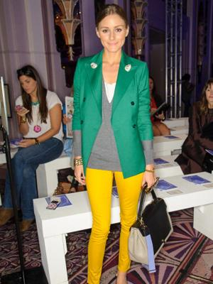Olivia Palermo shows how to colour block like a pro at London Fashion Week Spring/Summer 2013.