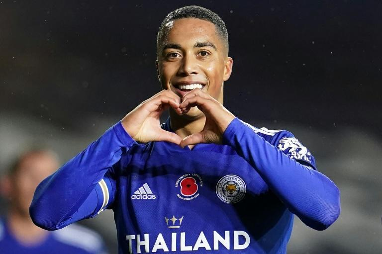 Leicester midfielder Youri Tielemans celebrates scoring against Leeds