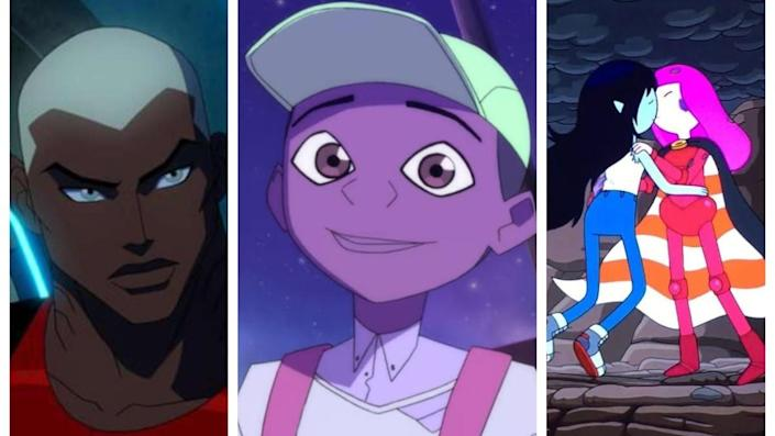 a collage photo of Acqualed from Young Justice, Benson from Kipo, and Princess Bubblegum and Marceline kissing from Adventure Time